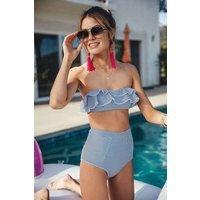 aava aava unisex vegan Bikini Dakota Blauw Gestreept Blauw L Econyl/Elastaan (lycra)