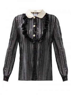 Matchesfashion Miu Miu - Peter Pan-collar Sequinned Blouse - Womens - Black