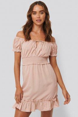 NA-KD Boho Puff Sleeve Mini Flounce Dress - Pink