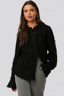 NA-KD Trend NA-KD Trend Blouse Met Ruwe Zoom - Black