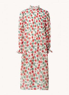 Ganni Ganni Midi jurk met bloemenprint en plissé