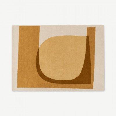 MADE.COM Helvi handgetuft wollen vloerkleed, 160 x 230 cm, ecru en bruin
