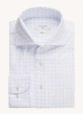 Profuomo Profuomo Slim fit overhemd met ruitdessin en extra lange mouw