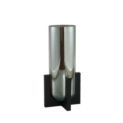Ptmd shaine grijs glanzend glazen vaas houten