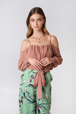 NA-KD Boho Embroidery Knot Top - Pink
