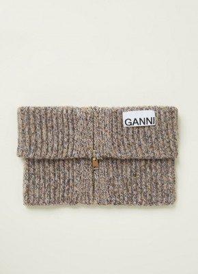 Ganni Ganni Grofgebreide colsjaal met rits 45 x 15 cm