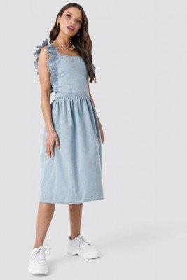 NA-KD NA-KD Ruffle Denim Pinafore Dress - Blue