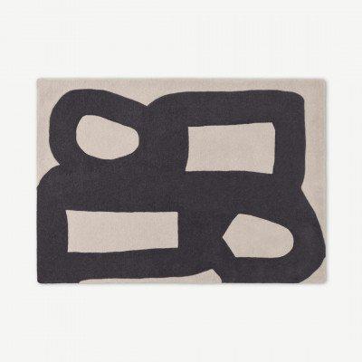MADE.COM Maali handgetuft wollen vloerkleed, groot, 160 x 230 cm, ecru en houtskoolgrijs