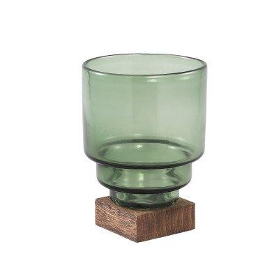 Ptmd fester groen vaas van glas op houten voet m