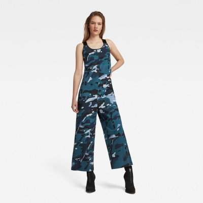 G-Star RAW Dungaree Camo Allover Jumpsuit - Midden blauw - Dames