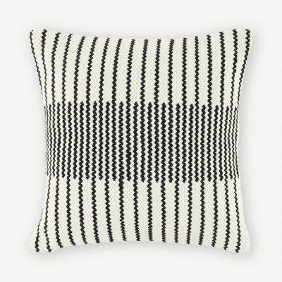 MADE.COM Caixa geweven kussen, 45 x 45cm, zwart en gebroken wit