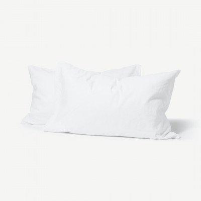 MADE.COM Tira set van 2 kussenslopen van linnen en katoenmix, wit