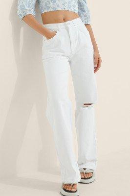 Buonalima x NA-KD Buonalima x NA-KD Organisch Verscheurde Jeans Met Hoge Taille - White