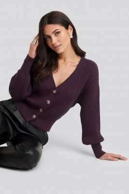 NA-KD Ribbed Cropped Cardigan - Purple