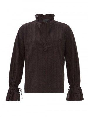 Matchesfashion Nili Lotan - Demi Trumpet-sleeve Striped-jacquard Cotton Top - Womens - Black