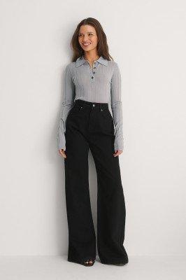 NA-KD Trend NA-KD Trend Organisch Wijde Jeans - Black