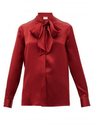 Matchesfashion Saint Laurent - Pussy-bow Silk-satin Blouse - Womens - Red