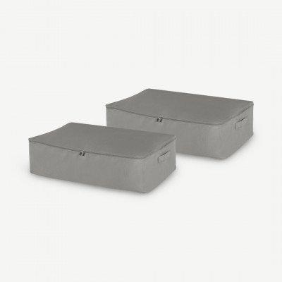 MADE.COM Ponting set van 2 stoffen opbergkoffers voor onder het bed, zilvergrijs en donkerturkoois
