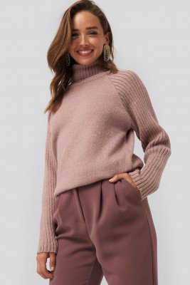 NA-KD NA-KD High Neck Ribbed Sleeves Sweater - Pink