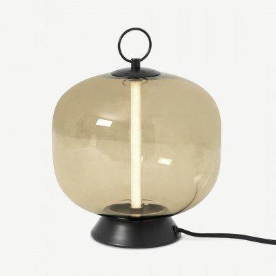 MADE.COM Olney tafellamp, champagne glas en matzwart metaal