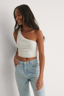 NA-KD Party NA-KD Party Gedrapeerde Mesh Top - White