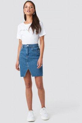 NA-KD NA-KD Front Slit Denim Skirt - Blue