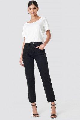 NA-KD NA-KD Front Yoke Jeans - Black