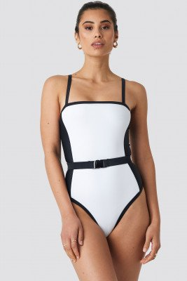 Hannalicious x NA-KD Hannalicious x NA-KD Thin Strap Waist Belted Swimsuit - White