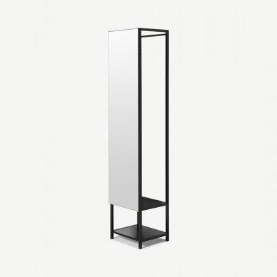 MADE.COM Seta spiegel met opbergruimte, zwart