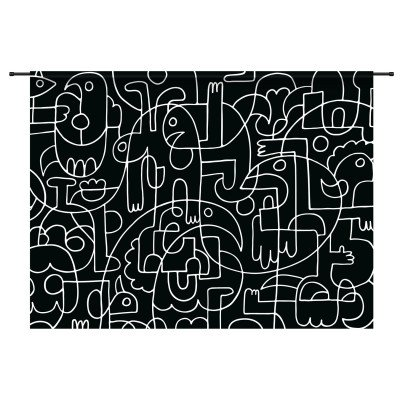 Urban Cotton Urban Cotton Wandkleed 'Doodles', 145 x 190cm