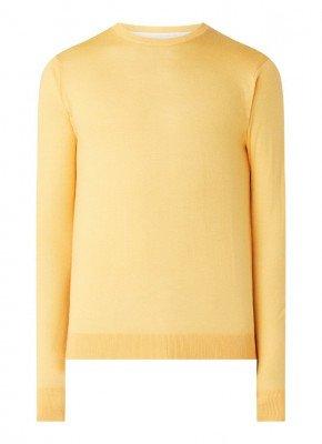 Van Gils Van Gils Basico fijngebreide pullover van wol met ronde hals