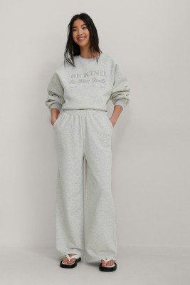 NA-KD Trend NA-KD Trend Organisch Wijde Sweatpants Met Elastische Taille - Grey