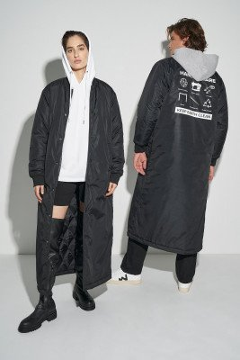 nu-in 100% Recycled Unisex Longline Maxi Bomber