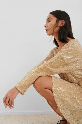NA-KD Party NA-KD Party Overlap Sequin Mini Dress - Gold