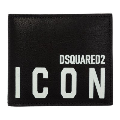 Dsquared2 men's portemonnee leather coin case holder purse card bifold Icon