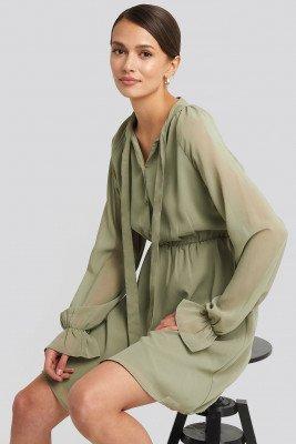 NA-KD NA-KD Chiffon buttoned Dress - Green