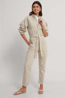 NA-KD Trend Gekleurde Jeansjumpsuit - Beige