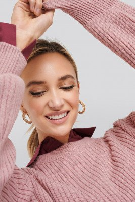 NA-KD Wool Blend Ribbed Knitted Sweater - Pink