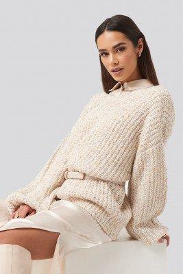 NA-KD Trend NA-KD Trend Deep Neck Melange Sweater - Beige