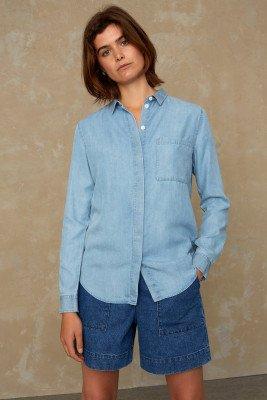 Kings of indigo Kings of Indigo - TAJA shirt long sleeve Women - Light Blue
