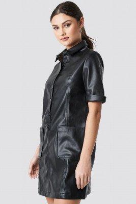 NA-KD Trend NA-KD Trend PU Button Up Mini Dress - Black