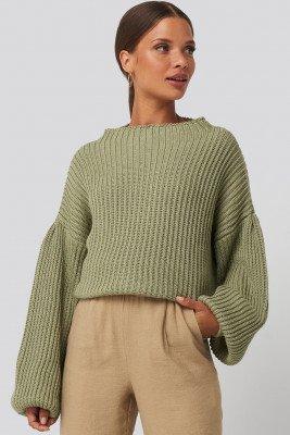 NA-KD NA-KD Balloon Sleeve Knitted Sweater - Green