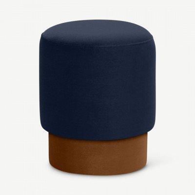 MADE.COM Volta poef, klein, interstellair blauw en kanneel fluweel