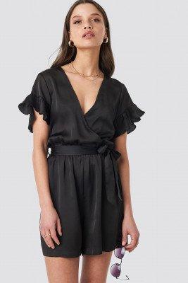 NA-KD NA-KD Frill Sleeve Playsuit - Black