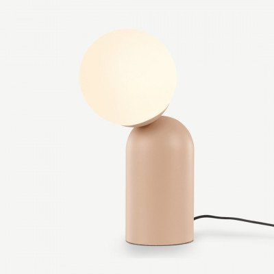 MADE.COM Vetro tafellamp, zachtroze en opaalglas