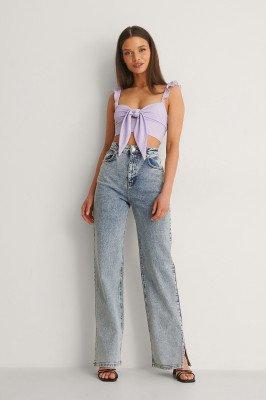 Anika Teller x NA-KD Anika Teller x NA-KD Organisch Jeans Met Hoge Taille En Split - Blue