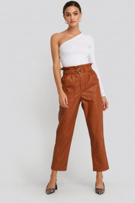 NA-KD Trend Tied Waist Pu Pants - Brown