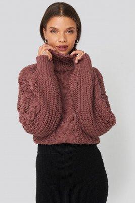 Donnaromina x NA-KD Donnaromina x NA-KD Chunky Cable Knit Sweater - Pink