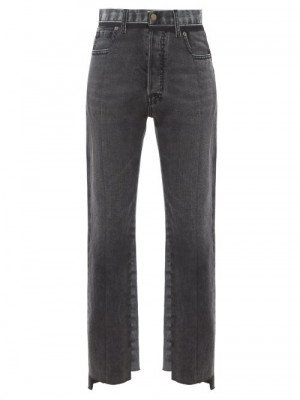 Maison Margiela - Raw-hem Panelled Straight-leg Jeans - Womens - Black