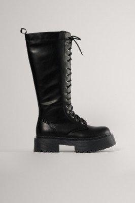 NA-KD Shoes NA-KD Shoes Chunky Laarzen Met Veters Op De Schacht - Black